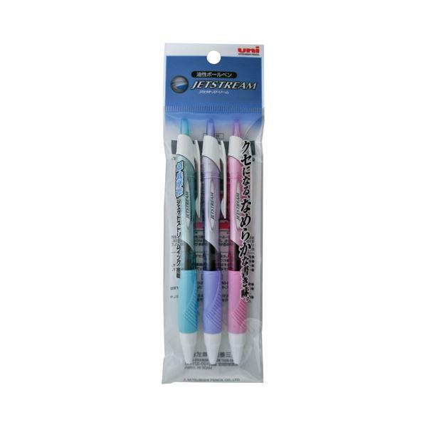 (まとめ) 三菱鉛筆 油性ボールペン ジェットストリーム 0.5mm 黒カラー軸 アソート(3色各1本) SXN15005.3C 1パック 【×30セット】