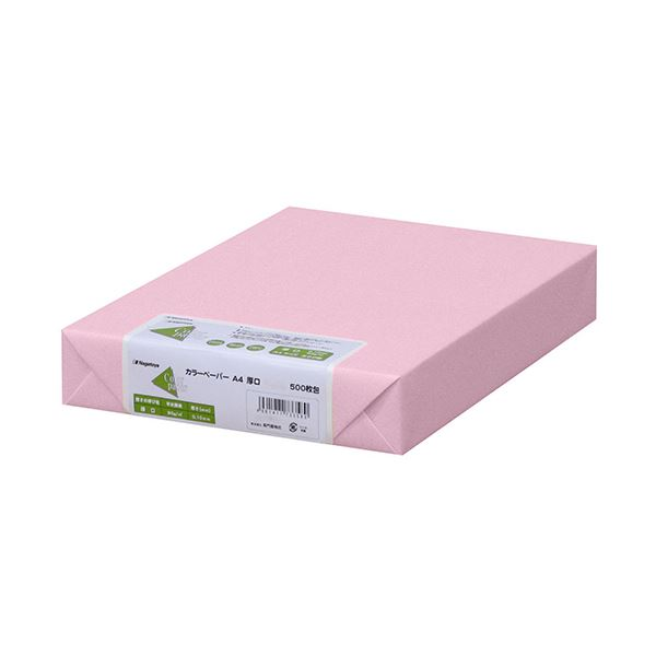 (まとめ)長門屋商店 Color Paper A4厚口 桃 ナ-3371 1冊(500枚) 【×3セット】
