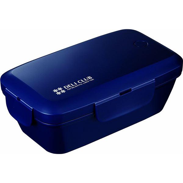 (まとめ) ランチボックス/弁当箱 【500ml ネイビー】 1段 電子レンジ 食洗機可 4点ロック方式 『デリクラブ』 【40個セット】