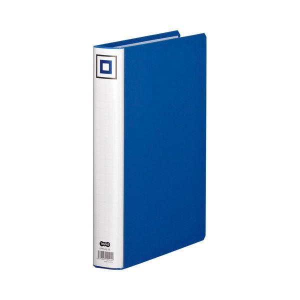 (まとめ) TANOSEE 両開きパイプ式ファイルV A4タテ 300枚収容 背幅45mm 青 1セット(10冊) 【×5セット】