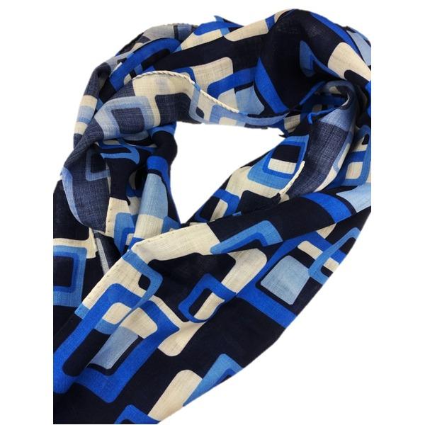 イタリア製ファクトリーストール&マフラー from NAPOLI ブルー 幾何学