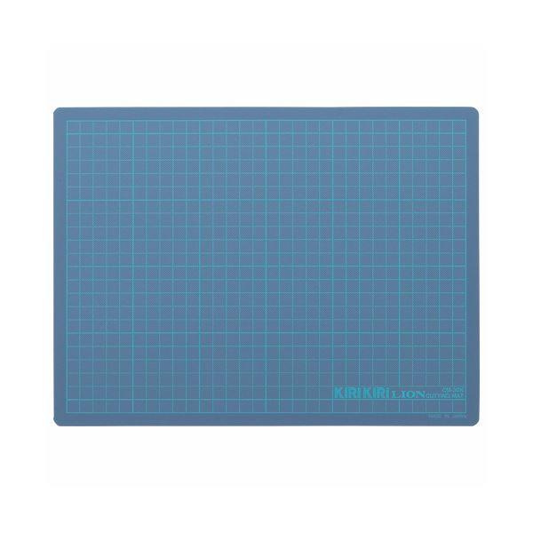 (まとめ) ライオン事務器 カッティングマットKIRIKIRI 再生PVC製 320×240×1.2mm ブルー CM-30K 1枚 【×30セット】