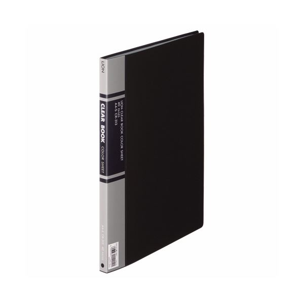(まとめ) ライオン事務器 クリアーブック A4タテ20ポケット 背幅14mm 黒 カラー台紙付 CR-313 1冊 【×10セット】