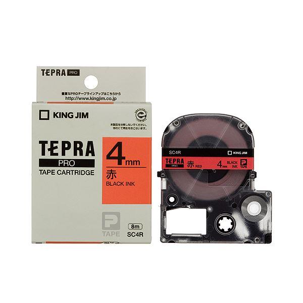 (まとめ) キングジム テプラ PRO テープカートリッジ パステル 4mm 赤/黒文字 SC4R 1個 【×10セット】