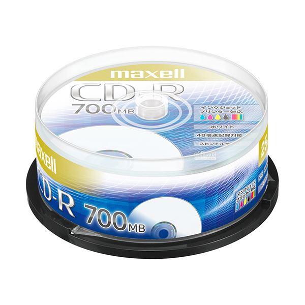 (まとめ) マクセル データ用CD-R 700MB48倍速 ホワイトプリンタブル スピンドルケース CDR700S.PNW.25SP 1パック(25枚) 【×10セット】