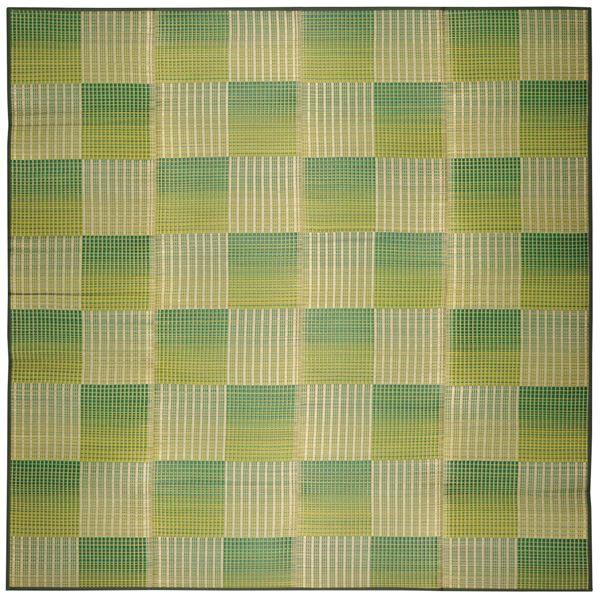 い草 ラグマット/絨毯 【約240×240cm グリーン】 表面:イ草100% 裏貼り 折りたたみ可 『クレパス』 〔リビング ダイニング〕【代引不可】