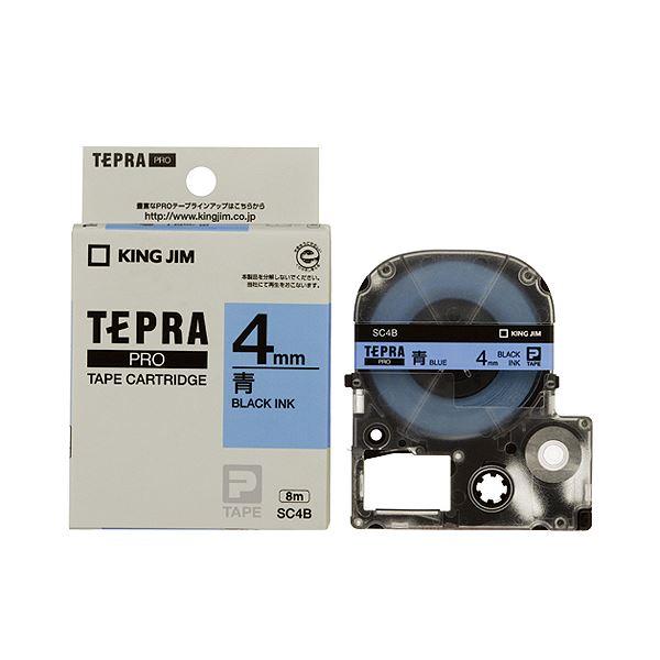 (まとめ) キングジム テプラ PRO テープカートリッジ パステル 4mm 青/黒文字 SC4B 1個 【×10セット】