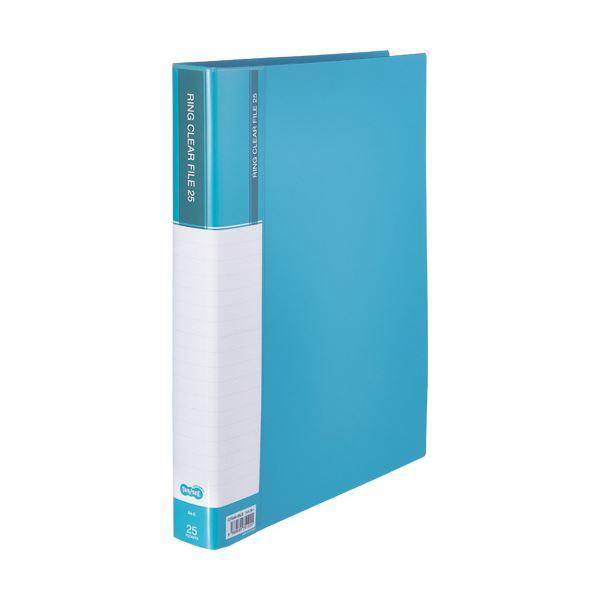 (まとめ) TANOSEEPPクリヤーファイル(差替式) A4タテ 30穴 25ポケット ライトブルー 1冊 【×10セット】