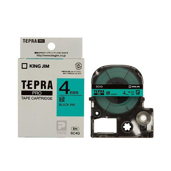 (まとめ) キングジム テプラ PRO テープカートリッジ パステル 4mm 緑/黒文字 SC4G 1個 【×10セット】