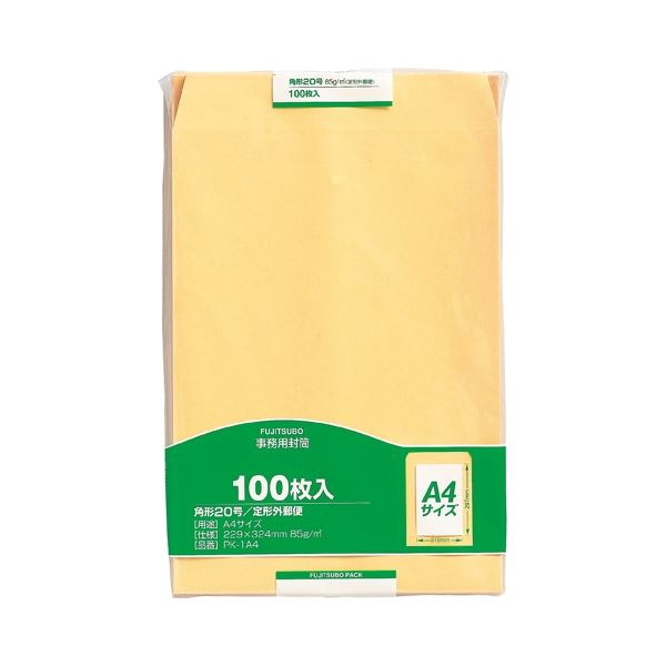 (まとめ) マルアイ 事務用封筒 PK-1A4 角20 100枚【×10セット】