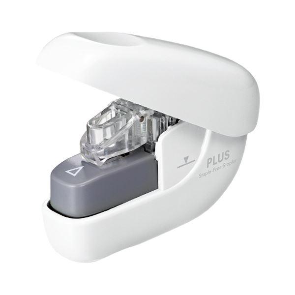 (まとめ) プラス 針なしホッチキスペーパークリンチ 6枚とじ ホワイト SL-106NB 1個 【×30セット】