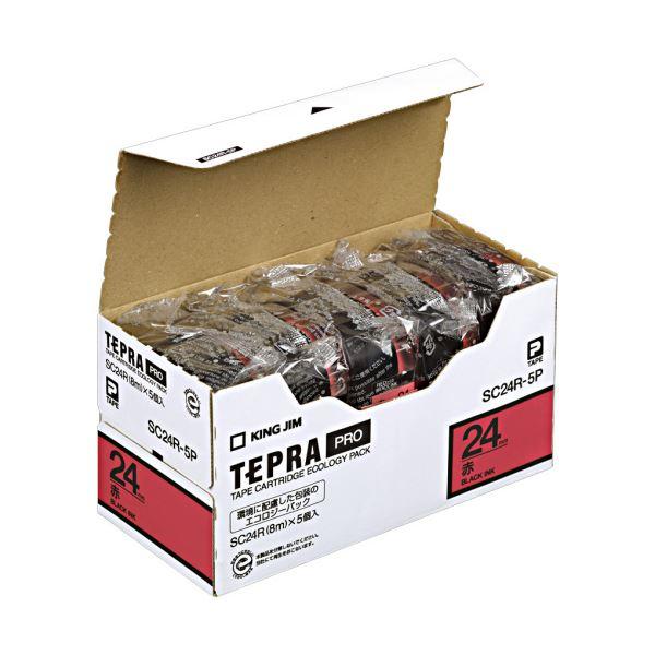 (まとめ)キングジム テプラ PRO テープカートリッジ パステル 24mm 赤/黒文字 SC24R-5P 1パック(5個)【×3セット】