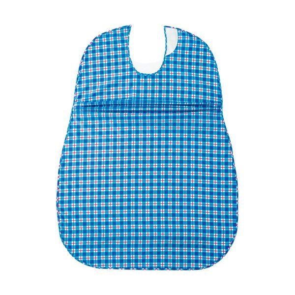 (まとめ)オオサキメディカル プラスハートこぼれにくい食事用エプロン サイドタック ブルー 73744 1枚【×5セット】