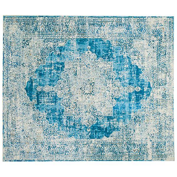 洗える ラグマット/絨毯 【約230×230cm アンティーク】 ホットカーペット 床暖房対応 防滑加工 〔リビング ダイニング〕
