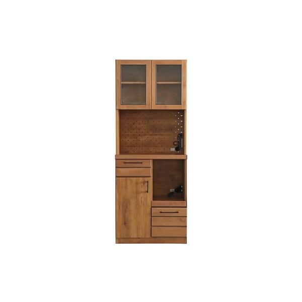 カジュアルヴィンテージ キッチン収納/食器棚 【ライトブラウン】 幅70cm 日本製 『LINA リナ 70KB』 【完成品】 〔台所〕【代引不可】