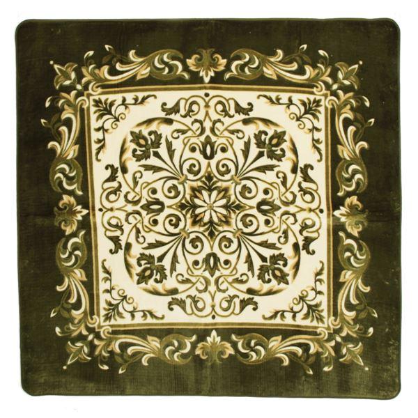 エレガント調 ラグマット/絨毯 【225cm×225cm グリーン】 正方形 防滑 ホットカーペット 床暖房対応 『バルモ』【代引不可】