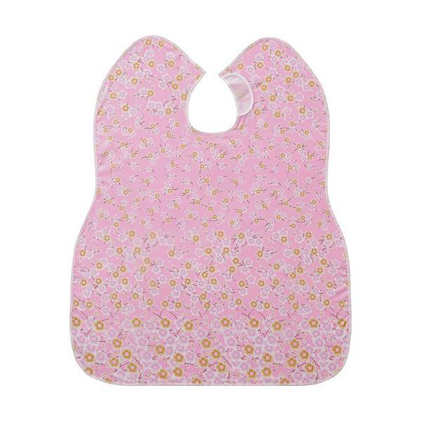 (まとめ)ピジョン 肩までおおえる食事エプロン 花柄 ピンク 1枚【×5セット】