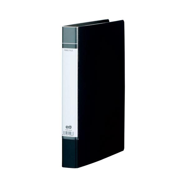 (まとめ) TANOSEE Oリングファイル(貼り表紙) A4タテ 2穴 200枚収容 背幅40mm 黒 1セット(20冊) 【×5セット】