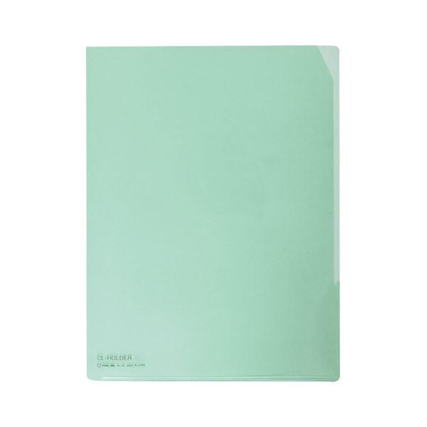 (まとめ) キングジム CLホルダー A4タテ 緑コーナーカット付 734 1セット(10枚) 【×10セット】