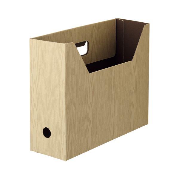 (まとめ) TANOSEEボックスファイル(WOODY) A4ヨコ 背幅100mm ナチュラル 1セット(15冊:3冊×5パック) 【×10セット】