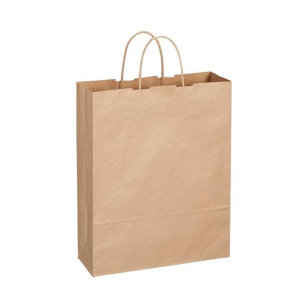 (まとめ) TANOSEE 紙手提袋 丸紐 大 ヨコ320×タテ400×マチ幅115mm 茶 1パック(50枚) 【×10セット】