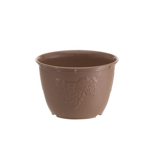(まとめ) 植木鉢/プランター 【6号】 チョコブラウン プラスチック製 ガーデニング用品 園芸 『ビオラデコ』 【120個セット】