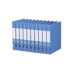 (まとめ) TANOSEE Dリングファイル(再生PP表紙) A4タテ 2穴 300枚収容 背幅43mm ブルー 1セット(10冊) 【×5セット】