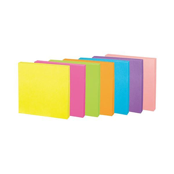 (まとめ) コクヨ 強粘着ふせん[K2]75×75mm ネオンカラー7色 K2メ-KN7575X10 1パック(10冊) 【×10セット】