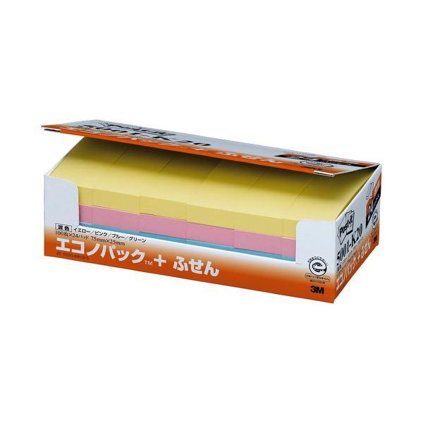 (まとめ) 3M ポストイット エコノパック ふせん 再生紙 75×25mm 4色 5001-K20 1パック(24冊) 【×5セット】