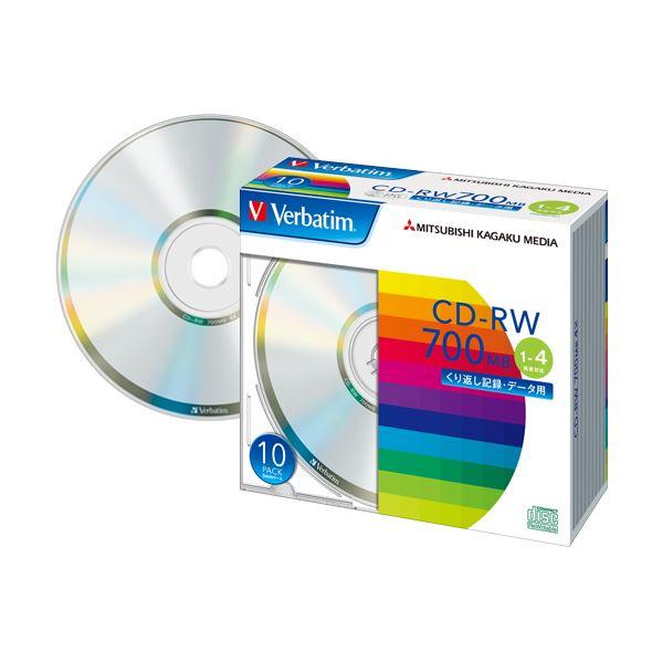 (まとめ) バーベイタム データ用CD-RW700MB 4倍速 ブランドシルバー 5mmスリムケース SW80QU10V1 1パック(10枚) 【×10セット】