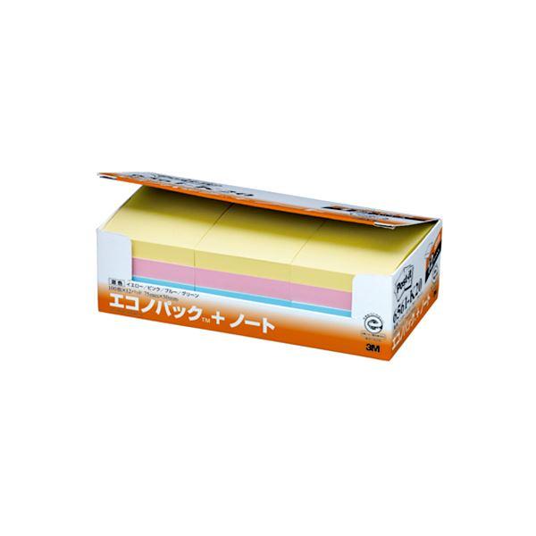 (まとめ) 3M ポストイット エコノパック ノート 再生紙 75×50mm 混色 6561-K20 1パック(12冊) 【×5セット】