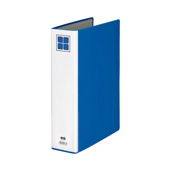 (まとめ) TANOSEE 片開きパイプ式ファイルE A4タテ 500枚収容 背幅76mm 青 1セット(10冊) 【×5セット】