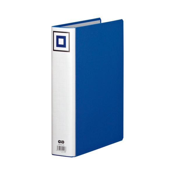 (まとめ) TANOSEE 両開きパイプ式ファイルV A4タテ 500枚収容 背幅65mm 青 1セット(10冊) 【×5セット】