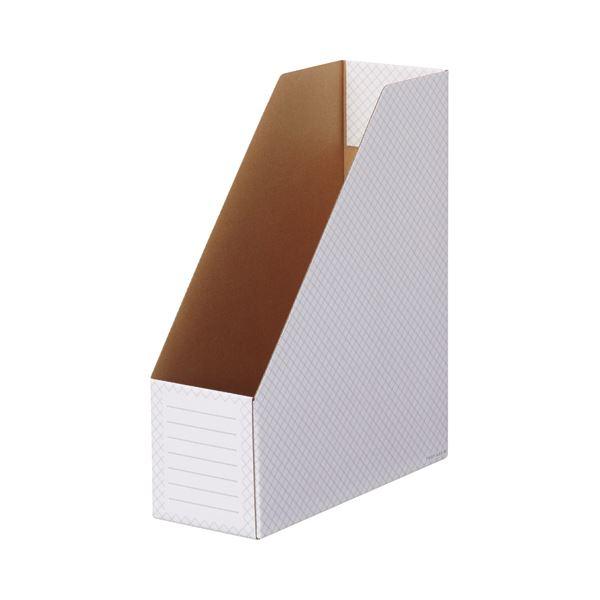 (まとめ)TANOSEEボックスファイル(ホワイト) A4タテ 背幅100mm グレー 1セット(50冊:10冊×5パック)【×3セット】