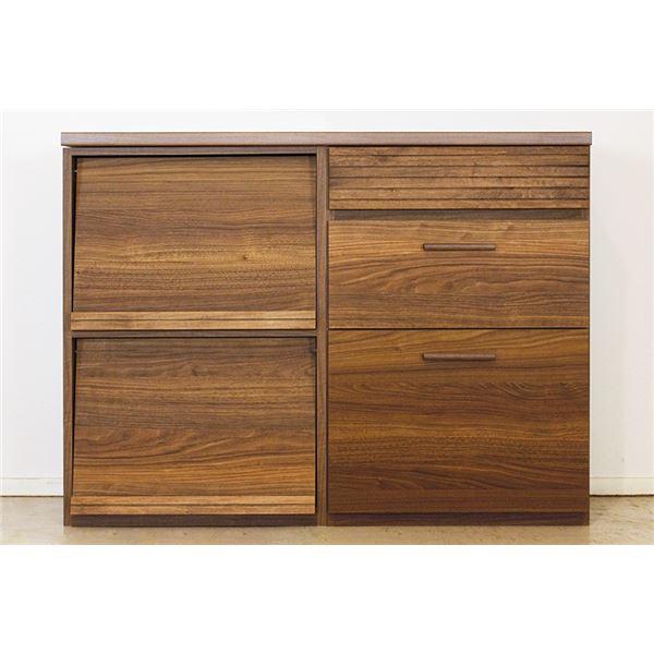 エフィーノ 収納家具 (幅120cm天板+マガジン+チェスト) ブラウン 【完成品】【代引不可】
