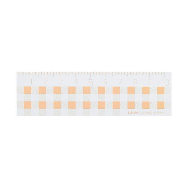 (まとめ)ライオン事務器 ギンガムチェック定規10cm オレンジ C-3 1本【×30セット】