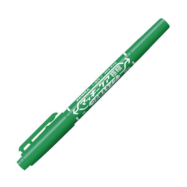 ゼブラ つめ替えタイプ YYTS5-G 【×100セット】 (まとめ) 油性マーカー 細字+極細 1本 緑 マッキーケア極細