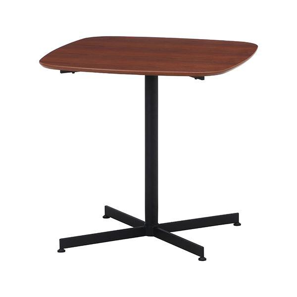 カフェテーブル/サイドテーブル 【75×75cm ブラウン】 スチール アジャスター付き 『レグナ』 〔リビング ダイニング 店舗〕【代引不可】