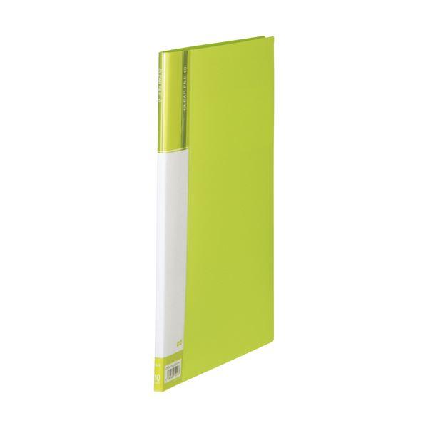 (まとめ) TANOSEEクリヤーファイル(台紙入) A4タテ 10ポケット 背幅11mm ライトグリーン 1セット(10冊) 【×10セット】