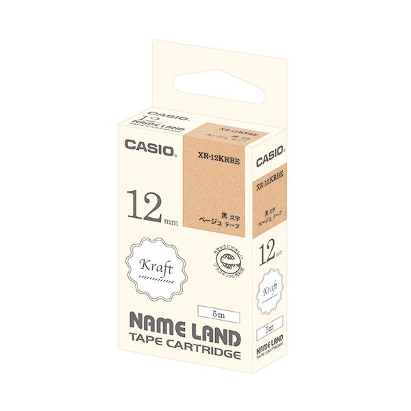 (まとめ) カシオ NAME LANDクラフトテープ 12mm ベージュ/黒文字 XR-12KRBE 1個 【×30セット】
