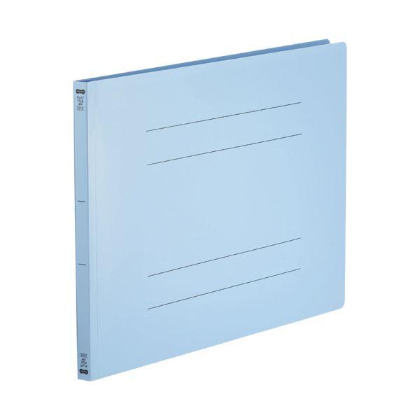 (まとめ)TANOSEE フラットファイル(再生PP)A3ヨコ 150枚収容 背幅18mm ブルー 1パック(5冊)【×5セット】