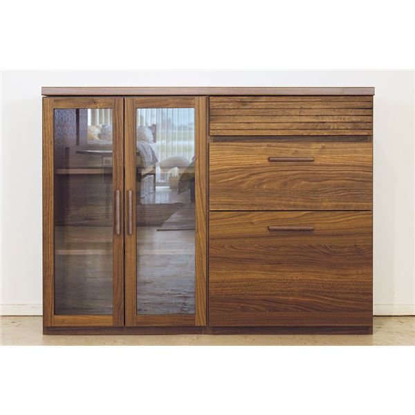 エフィーノ 収納家具 (幅120cm天板+ガラス扉+チェスト) ブラウン 【完成品】【代引不可】