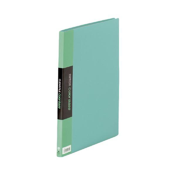 (まとめ) キングジム クリアファイル カラーベース A4タテ 20ポケット 背幅14mm 緑 132C 1冊 【×10セット】