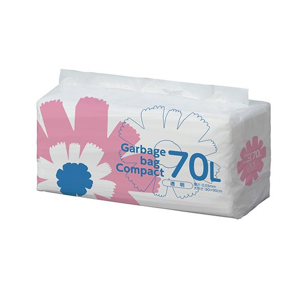 TANOSEE ゴミ袋 コンパクト 透明70L 1セット(400枚:50枚×8パック)