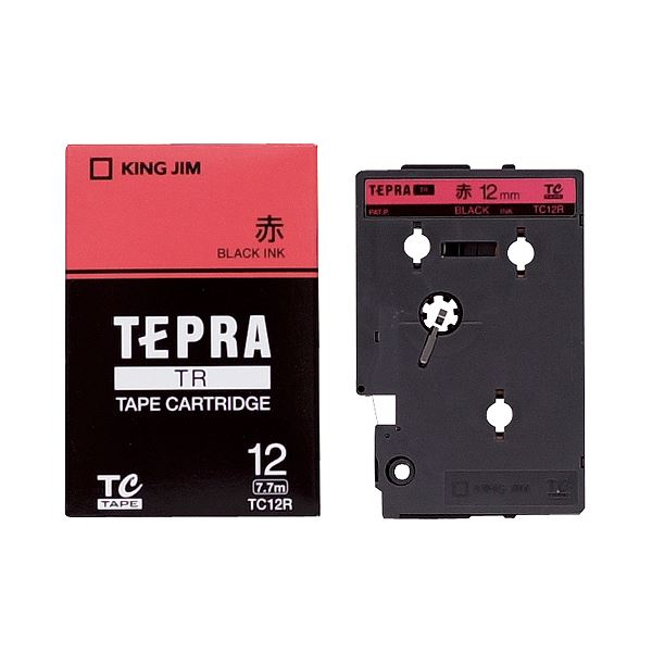 (まとめ) キングジム テプラ TR テープカートリッジ パステル 12mm 赤/黒文字 TC12R 1個 【×10セット】