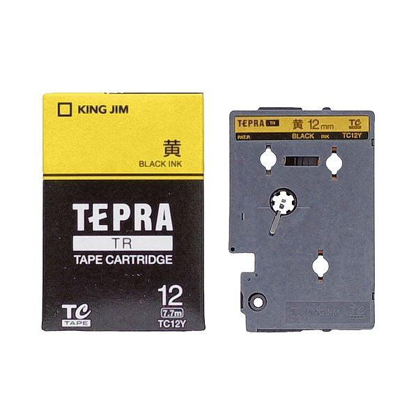 (まとめ) キングジム テプラ TR テープカートリッジ パステル 12mm 黄/黒文字 TC12Y 1個 【×10セット】