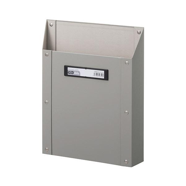 (まとめ) TANOSEEマグネットボックス(貼り表紙) A4タテ型 グレー 1個 【×10セット】