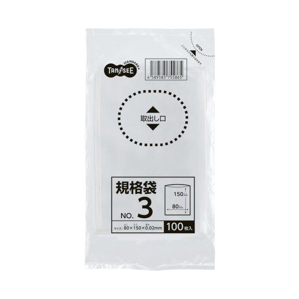 (まとめ) TANOSEE 規格袋 3号0.02×80×150mm 1パック(100枚) 【×300セット】