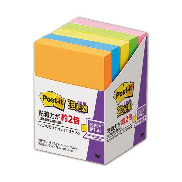(まとめ) 3M ポスト・イット 強粘着 ノート75×50mm ネオンカラー 5色混色 656-5SSAN 1パック(5冊) 【×10セット】