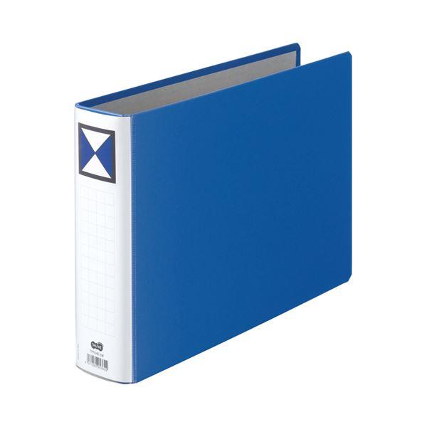 (まとめ) TANOSEE 両開きパイプ式ファイル A4ヨコ 500枚収容 背幅66mm 青 1冊 【×10セット】